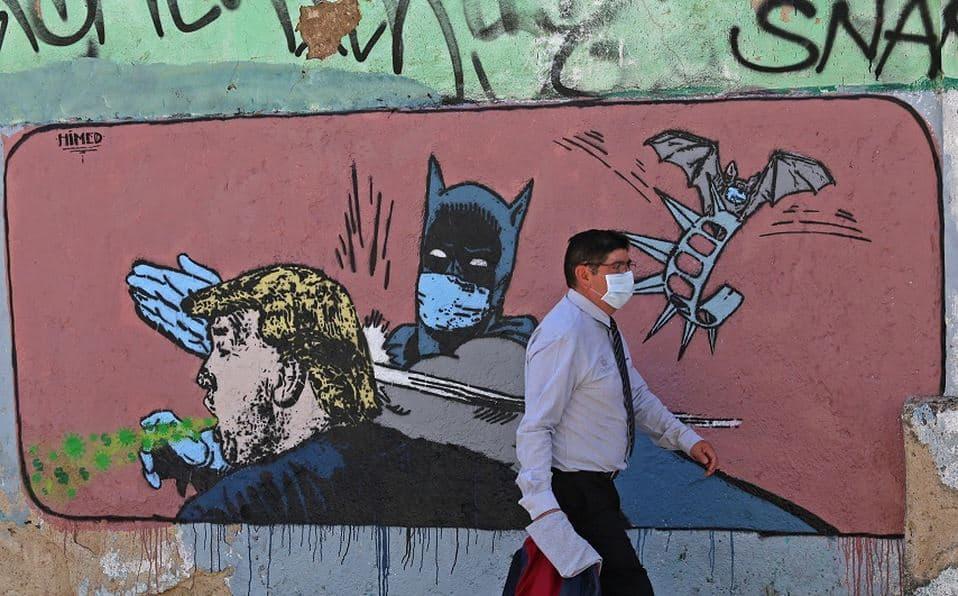 En Jalisco empezaron a aparecer diversos y bien elaborados graffitis sobre el impacto de la pandemia en México y el mundo